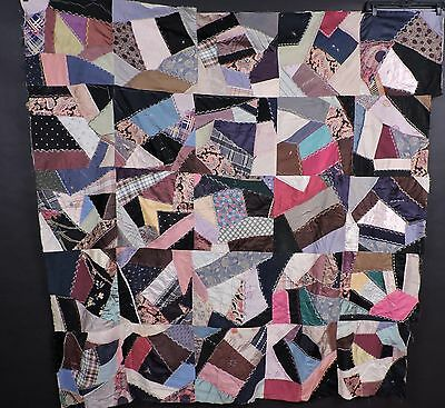 Victorian 19Th C Multi Color Silk Crazy Quilt Top