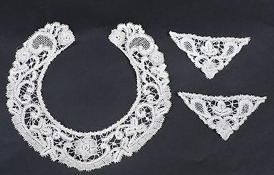 Hand Made 19Th C Fine Needle Lace Collar And Cuff Trim For Dress