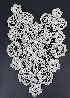 Antique Hand Made Honiton Lace Bodice Front Panel W Florals
