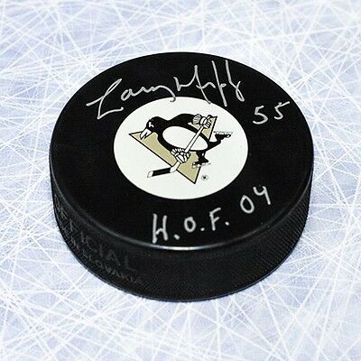 Larry Murphy Pittsburgh Penguins Autographed Hockey Puck with HOF Inscription