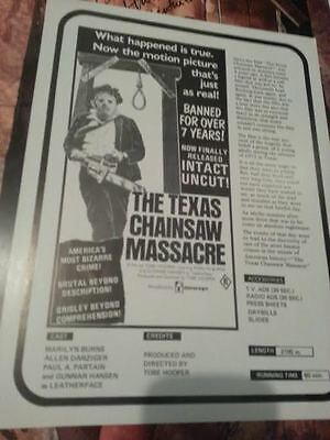 The Texas Chainsaw Massacre ORIGINAL double sided rare mint hooper hansen