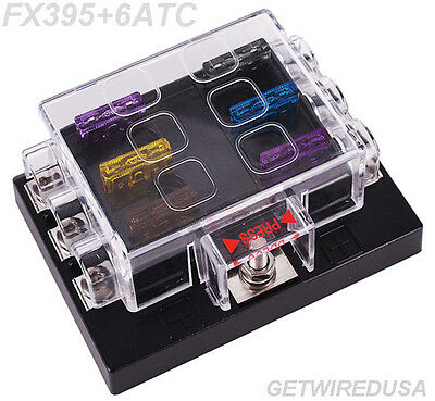 6-Way Atc Auto Fuse Holder Box 1 In 6 Out Power Distribution Panel With Fuses