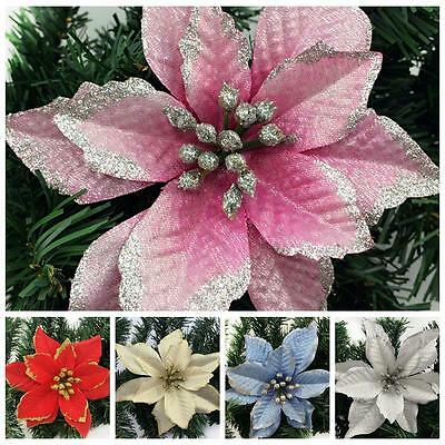 8PCS Artificial Glitter Flower Christmas Tree Ornaments Party Home Decoration LG