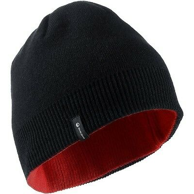 Reversible Warm Beanie Cap Hat - One Size - Dual colour Black Red