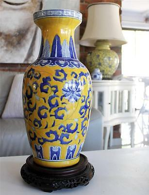 Vintage Hamptons Yellow Blue Asian Vase Pot Urn LARGE 47cms Chinese Porcelain