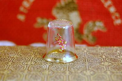 Vintage Thimble Glass W/flower Red/yellow Gold Trim Edge -C7