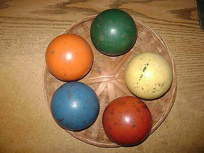 5 Vintage Wooden Croquet Balls Solid Colors Back Yard Games Outdoors