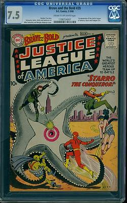 Brave and the Bold 28 CGC 7.5 Silver Key DC Comic 1st Justice League IGKC L@@K