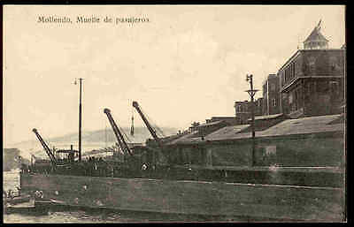 MOLLENDO, PERU, DOCK FOR PASSENGERS OVERVIEW, MACHINERY, BOATS, c. 1904-14