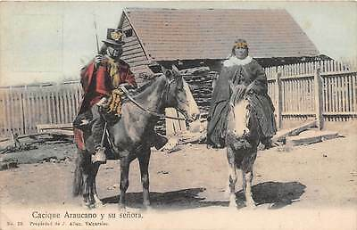 CHILE, MAPUCHE INDIAN CHIEF & HIS WIFE EACH ON HORSEBACK, POSED IMAGE c. 1904-14