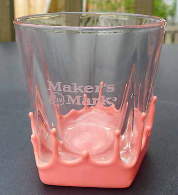Maker's Mark Bourbon Whiskey Pink Dipped Wax Rocks Glass Breast Cancer Rare
