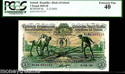 "IRELAND P8a 1 POUND DATED 5.12.35 ""PLOUGHMAN"" PGCS 40! DUBLIN, RARE ONLY 5 KN.!"