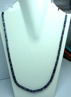 3 - 4 mm Natural Iolite Micro Faceted Rondelle Beads 19.5 Inch Necklace S111