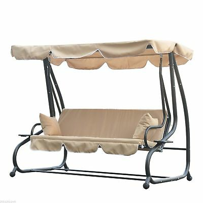 Metal Swing Chair Hammock 3 Seater Bench Hardwood Heavy-Duty W/ Canopy Cover
