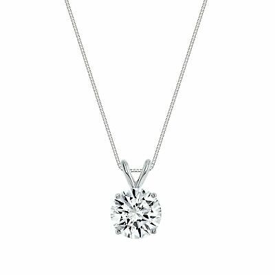2.00ct Created Diamond Pendant 14K Solid White Gold Solitaire Charm 8mm