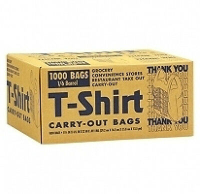 """Plastic T-Shirt Carry-Out thank you Bags 1000 ct 11.5"""" x 6.5"""" x 22""""  grocery"""