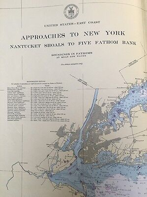 1947 U.S. Coast and Geodetic Survey Chart / Map Approaches to New York