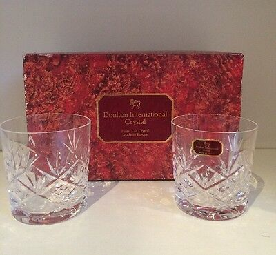 DOULTON International Crystal Finest Cut Whiskey Glasses 'Hellene'