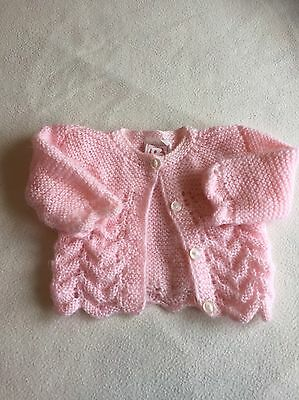 Tiny Baby Girls Clothes - Cute Pink Hand Knitted Cardigan -