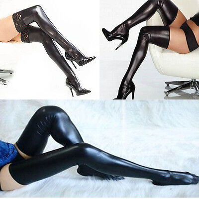 Women Lady Black Elastic Thigh High Stockings With Lace Spandex Latex Rubber