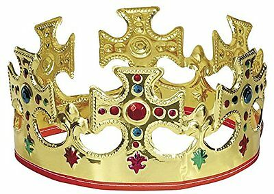Plastic King Crown W/ Adjustable Velcro Strap For Party Costume Decoration Gold