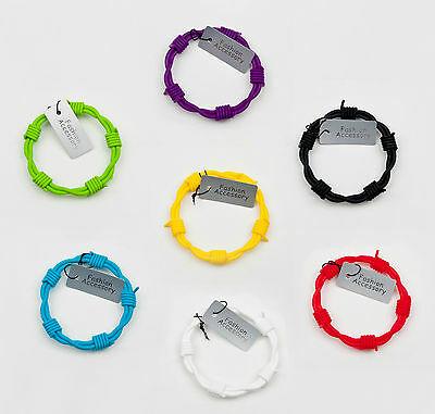 coloured silicone rubber barb wire design bracelet / stocking fillers