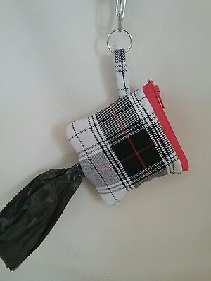 Dog poo poop bag holder handmade unique pouch gift check pattern lined puppy pet