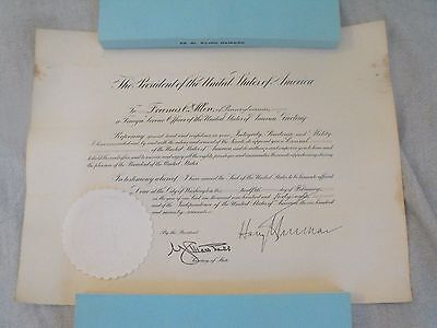 Lot of 4 Signed Foreign Service Appointments by President Harry S. Truman