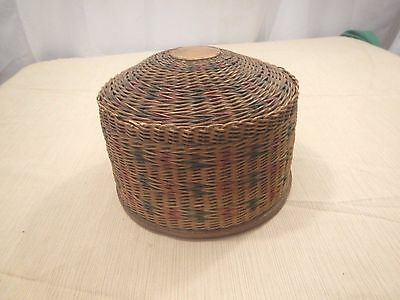 Antique Vintage woven wicker basket sewing satin lined with lid