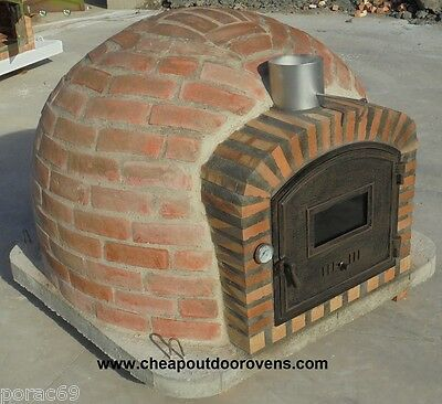 RUSTIC INSULATED CLAY STONE OVEN WOOD FIRED WITH CHIMNEY - (110 cm x 110 cm)