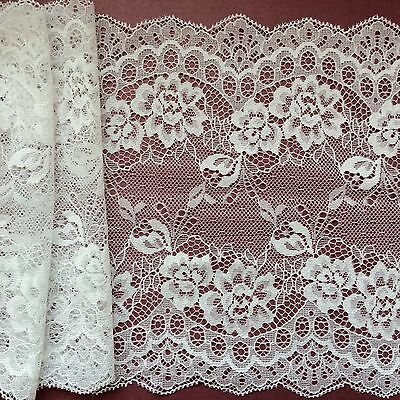 """Laces Galore ~Clipped Ivory Wide Delicate Lace 7.5""""/19 cm Craft/Trim/Bridal"""