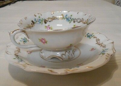 Vintage Carlsbad China Footed Tea Cup & Saucer, Floral Design, Austria
