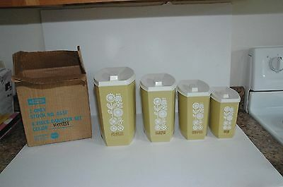 NEW  NIB New in Box Vintage 4 Piece Harvest  Lustro Ware  Canister Set