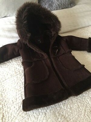 Brand New Baby Girl Gap Faux Suede Leather Shearling And Fur Coat Jacket 3 Years