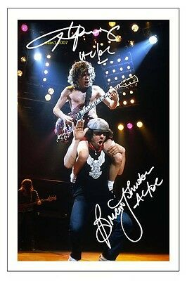 4x6 SIGNED AUTOGRAPH PHOTO PRINT OF ANGUS YOUNG & BRIAN JOHNSON #35