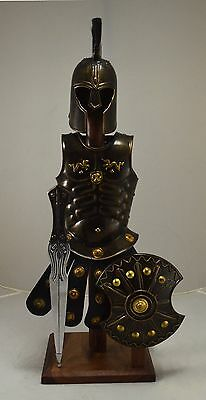 Stunning Troy Suit of Armour - Sword & Shield on Wooden Stand Man Cave/Pad 55cm