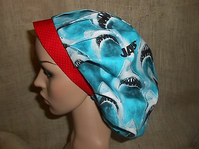 Jaws Shark Red Contrast Band  Classic Bouffant Surgical Scrub Hat