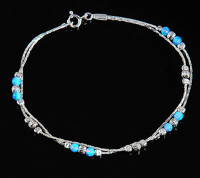 OPAL 925 Sterling Silver Fire Blue Bracelet Free Cleaning Anti-tarnish Cloth