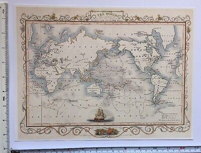 "Antique colour map 1800s: The World - Captain Cook: Tallis 13 X 9"" Reprint"