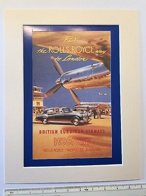 """Fly the Rolls Royce way to London 1953 airline advert: Mounted poster 14"""" x 11"""""""