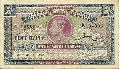 Government Of Cyprus ~ 5 Shillings 1947  P-22 ~ George Vi -  Nice Grade Note
