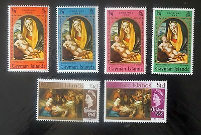 CAYMAN ISLANDS 2 sets of CHRISTMAS stamps 1968, 1969  6 stamps MH  Lot#4