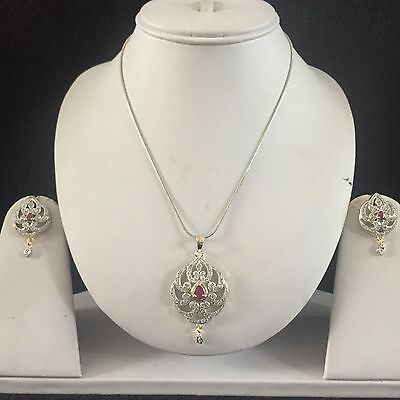 Red Gold Costume Jewellery Pendant Necklace Earrings American Diamond Set New