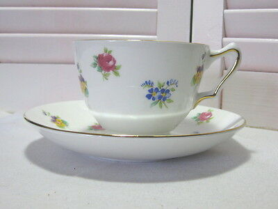 "Crown Staffordshire Footed Cup & Saucer Set ""Bouquet"" Fine Bone China England"