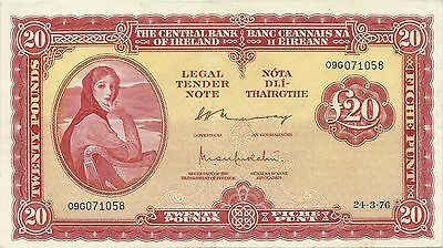 CENTRAL BANK OF IRELAND 20 POUNDS 1976 ~ LADY LAVERY ~ P-67c ~ LOVELY CRISP EF