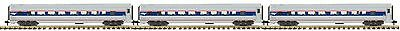 MTH 70-65032, G Scale, 3-Car Streamlined Passenger Car Set (Ribbed) - Amtrak