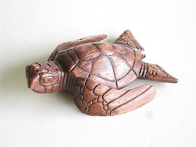Wooden Hand Carved Turtle Swimming 15cm.....