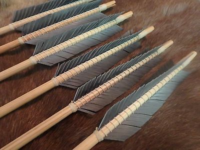6 Wood Medieval Viking Arrows for English Longbow or Recurve choose spine