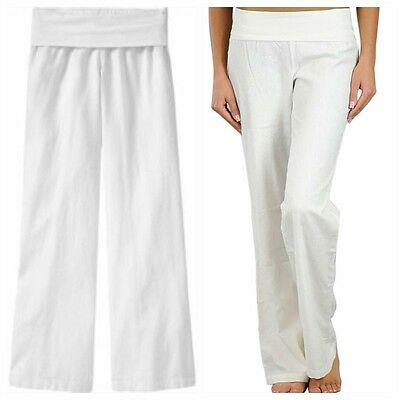 Wholesale Boutique Clothing Lot of 3 Foldover White Linen Pants S, M, L