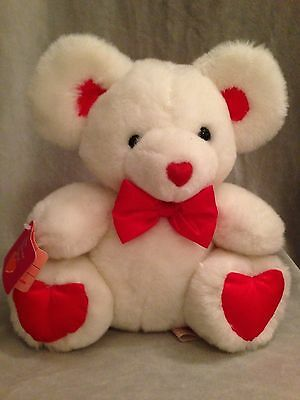 """Valentine Mouse White Red Hearts Stuffed Plush Fun World Tags Gift Toy 9"""""""